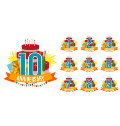 Template from 1 to 10 years anniversary vector