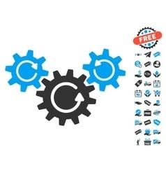 Transmission wheels rotation icon with free bonus vector