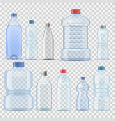 transparent water plastic clean bottle 3d vector image