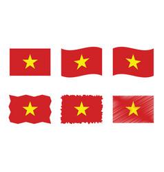 vietnam flag set official vector image