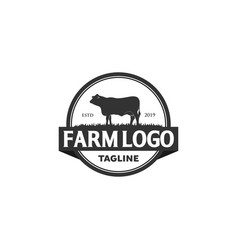 Vintage angus cattle beef logo design inspiration vector