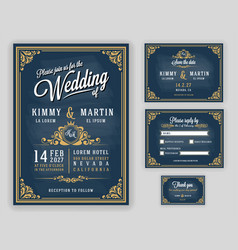 Vintage luxurious wedding invitation on chalkboard vector