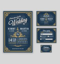 Vintage luxurious wedding invitation on chalkboard vector