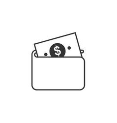 wallet dolar line icon simple modern flat for vector image