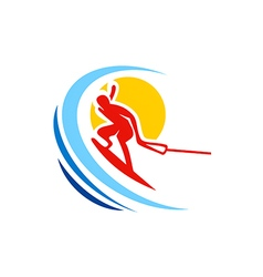 Water sport ski abstract logo vector