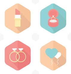 Wedding symbols lipstick rings gifts balloons Hear vector