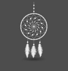 white dreamcatcher on gray background vector image