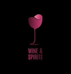wine glass logo red design on black vector image