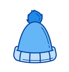 winter hat line icon vector image
