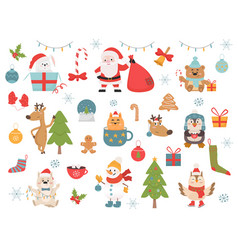 winter holidays symbols and animals vector image