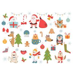 Winter holidays symbols and animals vector