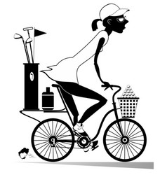 Woman rides the bike and goes to play golf vector