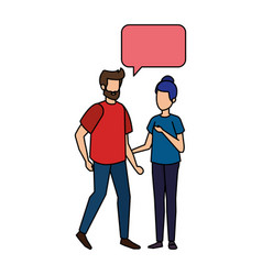 young couple with speech bubble characters vector image