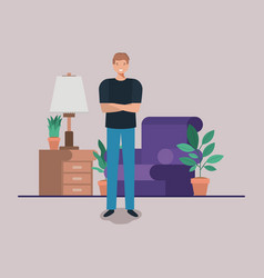 Young man on the livingroom vector