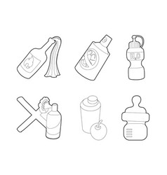 bottle icon set outline style vector image