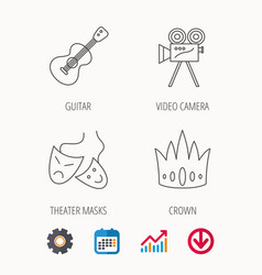 Crown guitar music and theater masks icons vector
