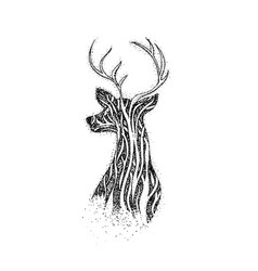 dotwork tree reindeer vector image vector image