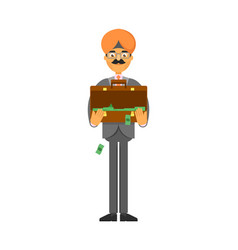 indian businessman with suitcase full of money vector image