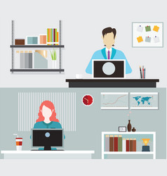 office people working vector image vector image