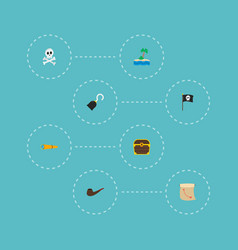 set of piracy icons flat style symbols with vector image vector image