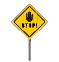 Stop scratched road sign vector image