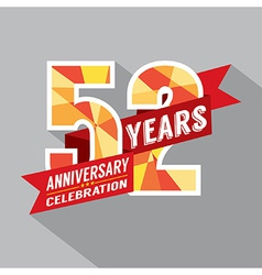 52nd Years Anniversary Celebration Design vector image vector image