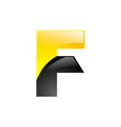 Creative yellow and black symbol letter F for your vector image vector image