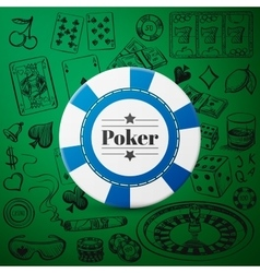 Hand drawn Casino Collection with single blue vector image vector image