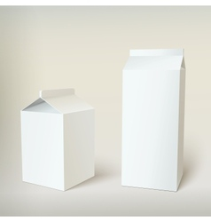 Milk Carton Packages Blank White vector image vector image