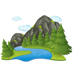 scene with river and mountain vector image vector image