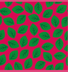 seamless pattern with green leaves on pink vector image vector image