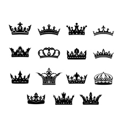 Set of black and white royal crowns vector image vector image
