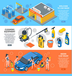 car wash isometric banners set vector image