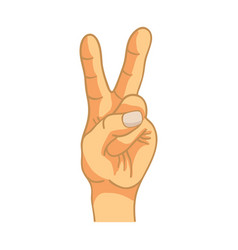 cartoon hand in victory gesture on white vector image