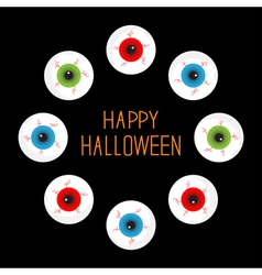 Eyeballs with bloody streaks round frame on black vector