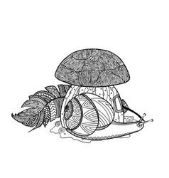 fairytale mushroom snail and bird feather vector image vector image