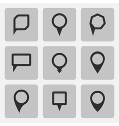 pointer black icons set various forms vector image