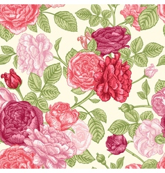 seamless vintage pattern with English roses vector image vector image