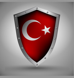 shield with theturkish flag vector image vector image