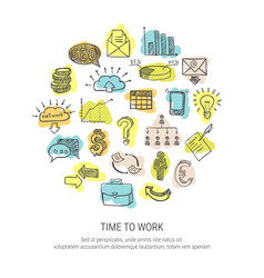 time to work decorative icons set vector image