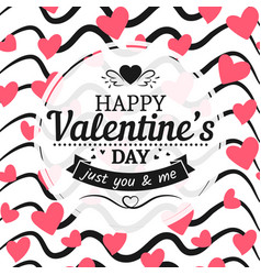 vintage valentines day card sign hearts and hand vector image vector image