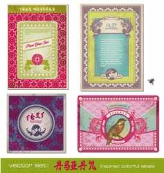 Asia vintage labels vector image vector image