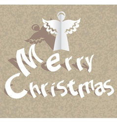 Christmas paper card with angel vector image