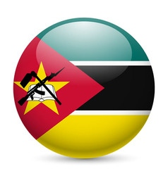 Round glossy icon of mozambique vector image vector image