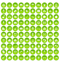 100 childhood icons set green vector