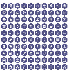 100 holidays family icons hexagon purple vector