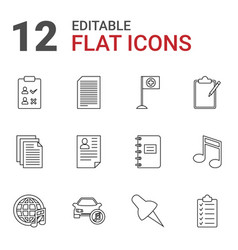 12 note icons vector image