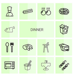 14 dinner icons vector