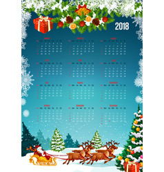 2018 new year calendar with christmas tree gift vector image