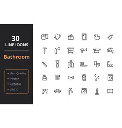 30 bathroom line icon vector image